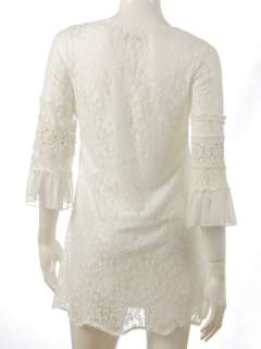 N41 GORGEOUS SQUARE NECK CROCHET LACE DRESS WHITE Sz S