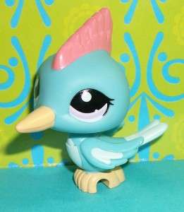 Littlest Pet Shop~#1787 TEAL GREEN WOODPECKER BIRD Pink Crest~M176 LPS