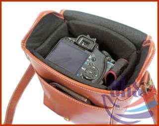 Brown Leather Bag Case for Digital Camera DSLR Luxury