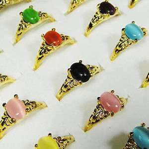 HOT ON SALE wholesale lots 50pcs Multicolor Malay Jade gold rings free