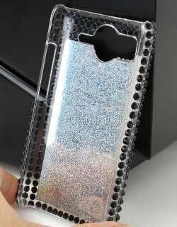 White flower olivet rhinestone hard back case cover for phone HTC