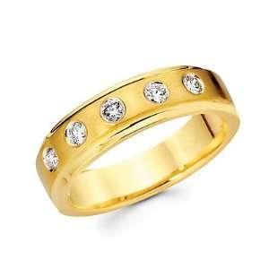 Size  12   14k Yellow Gold Mens Diamond Wedding Ring Band