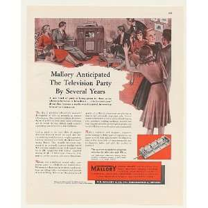 1948 Mallory TV Inductuner Television Party Print Ad