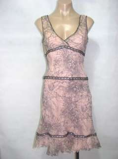 BCBG MaxAzria Womens Pink Black Lace 100% Silk Sleeveless Dress Size 6