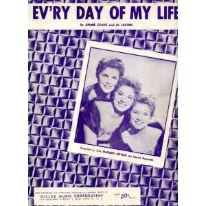 Evry (Every) Day of My Life Vintage 1954 Sheet Music Recorded by The