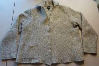 EILEEN FISHER Gray Nubby Textured CASHMERE Wool Bld Jacket XL
