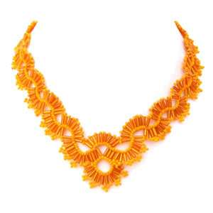 VICTORIAN CROWN ORANGE BEADED NECKLACE FASHION JEWELRY