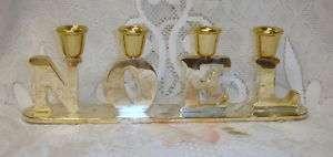 Godinger Silver NOEL Christmas Candelabra CANDLE HOLDER