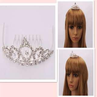 Fashion Rhinestone Crown Bridal Hair Comb Pin 004 Tiara