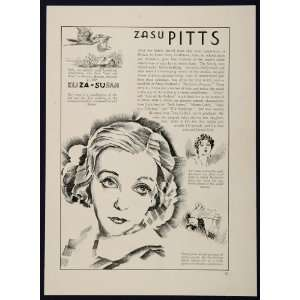 1933 Zasu Pitts William Powell Actor Silent Film Star   Original Print
