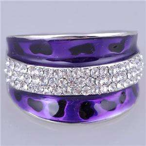 Crystal Ring Purple Enamel Gold GP Rings Fashion Jewelry JSR035