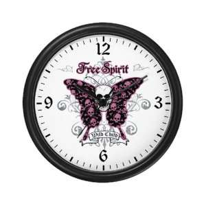 Wall Clock Butterfly Skull Free Spirit Wild Child