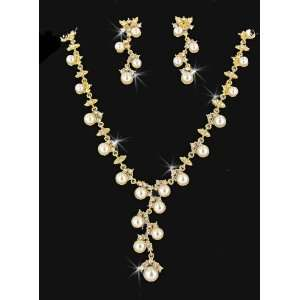 Gold Ivory Faux Pearl Rhinestone Necklace Earring Set Jewelry