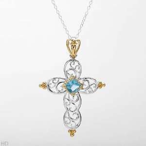 CleverSilvers Simulated Gems Gold Plated Silver Cross
