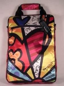 Romero Britto Satin Heart Laptop Bag W/Long Handle NWT