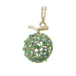 Goldtone Green Deco Melon Charm Pendant Necklace Jewelry