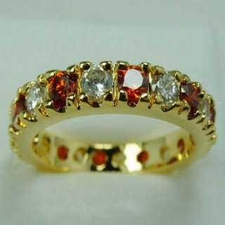 NICE 10K YELLOW GOLD FILLED LADY RUBY&CLEAR SAPPHIRE RING #8