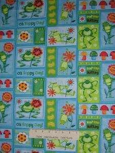 Hoppy Days Bright Frogs Flower Mushrom Green Blue Cotton YARDS