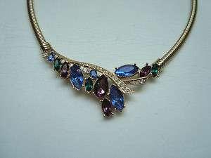 Trifari Multicolored Sparkling Rhinestone Choker Necklace 16 Purple
