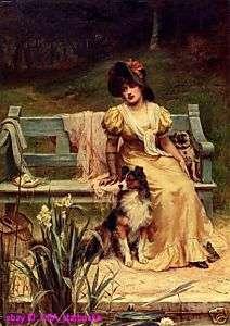handicrafts Art Repro oil paintingsGirl and dog