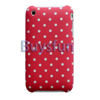 White Dots Red Hard Case Cover For Apple iPhone 3G 3GS
