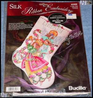 Bucilla ANGELS Ribbon Embroid Counted Cross Stitch Christmas Stocking