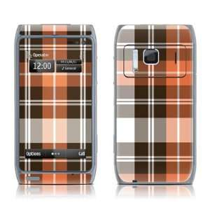 Copper Plaid Design Protective Decal Skin Sticker for Nokia N8 Cell