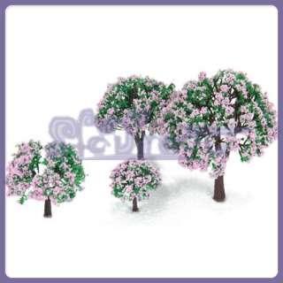 BEAUTIFUL 4 FRUIT Trees Pink Flowers Dollhouse Garden Park Scenery