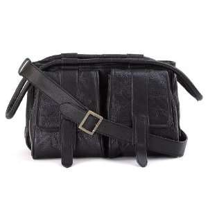 Black Hand Sewn Pebble Grain Genuine Leather Purse Electronics