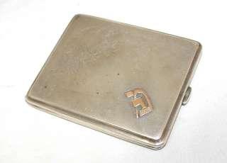 Antique Austrian Silver Gold Cigarette Case Hebrew Mono