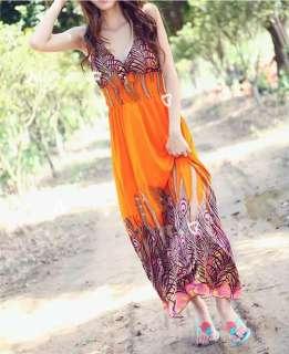 Height of Summer Maxi Boho Peacock Print Dress Beach/Sundress CHELSEA