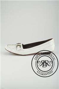 FENDI $490 WHITE PATENT LEATHER BUCKLED LOAFERS 9.5/39.5 (52103