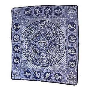 Mayan Calender Mexican Blanket throw rug tapestry