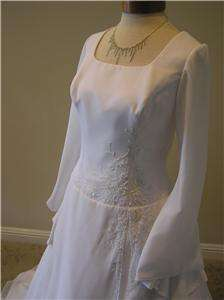 NEW Bonny Modest Renaissance wedding dress bridal chiffon gown size 14