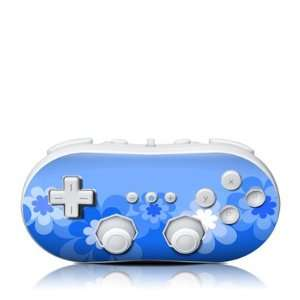Retro Flowers Blue Design Skin Decal Sticker for the Wii