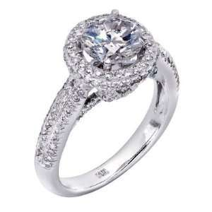 14K White Gold Round Cut Diamond Engagement Ring (2 carats