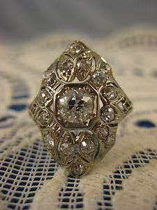 Antique Old Mine Cut ~ 1.66 cts DIAMOND ART DECO RING ~ 18K White Gold