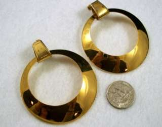 Vintage Miriam Haskell Gold Tone Runway Hoop Clip Earrings Huge