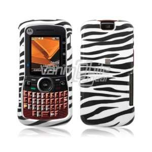VMG Motorola Clutch i465   White Black Zebra Design Hard 2