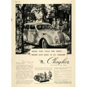 1936 Ad Chrysler Detroit Six Coupe Vehicle Woods Cabin