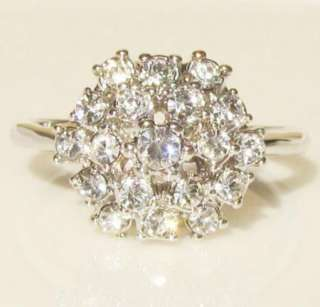 swarovski crystal flower white gold GP promise engagement wedding ring