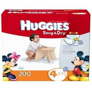 NIB! Huggies Snug & Dry Diapers Size 4 200 Count LeakLock Protection