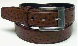 New Mens Med Brown Ostrich Leather Jean Casual Belt MBN