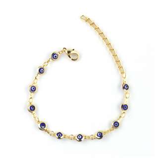 GOLD PLATED EVIL EYE GREEK MATI DARK BLUE ( 4 mm) BRACELET