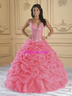 Pink Quinceanera Wedding Evening Dress Prom Ball Gowns