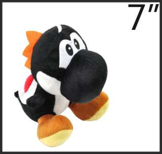 Super mario bros black yoshi 7 plush toy doll M5