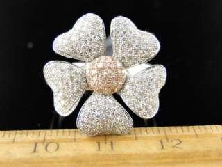 WHITE GOLD FINISH LADIES 2 TONE DIAMOND FLOWER RING .6C