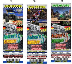 Monster Truck Jam Birthday Party Invitations Favors