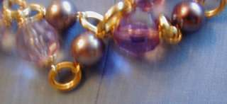 KENNETH JAY LANE PARISIAN GOLD TONE FAUX PEARL AND FACETED CRYSTAL