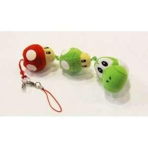 Super Mario YOSHI / Mushroom Plush (3) Cell Phone Strap / Key Chain